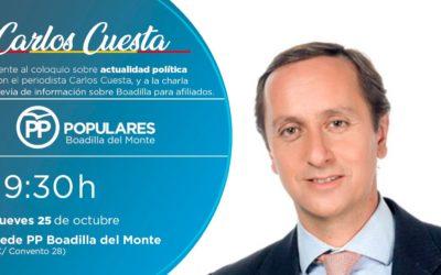 Carlos Cuesta participa hoy en el coloquio de actualidad política del PP de Boadilla