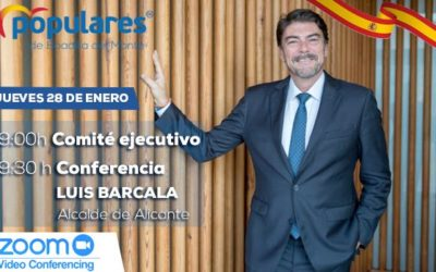 El alcalde de Alicante, Luis Barcala, con afiliados y simpatizantes del PP de Boadilla